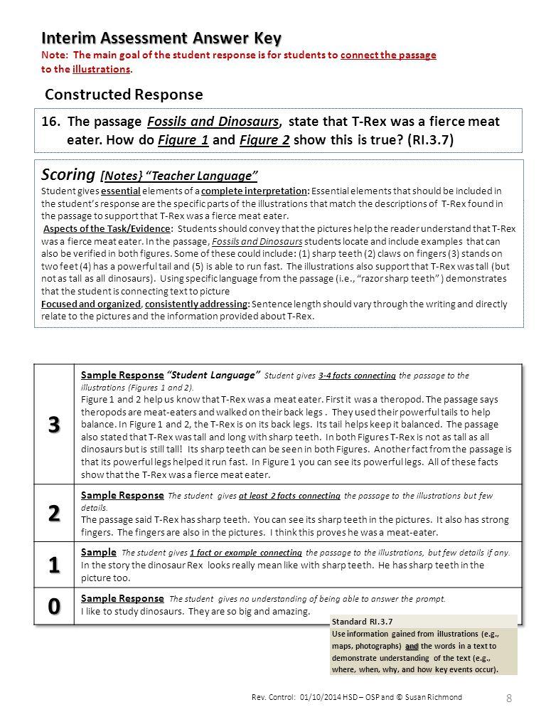 3 2 1 Interim Assessment Answer Key Scoring [Notes} Teacher Language